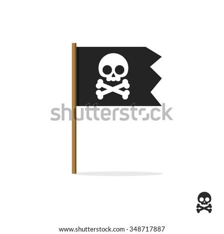 Pirate flag vector symbol flat icon, skull crossbones, bones shape label, web ribbon, app emblem logo design element, illustration sign, shape badge isolated on white, danger and warning symbolic - stock vector
