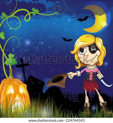 Pirate girl with  jack o lantern in the cemetery. Halloween night scene - stock vector