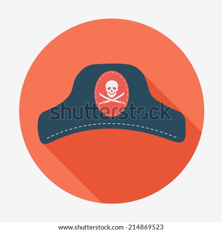 Pirate icon, captain hat. Flat design style modern vector illustration. Isolated on stylish color background long shadow icon. Elements in flat design. - stock vector