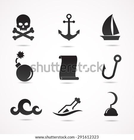 Pirate icon set. Vector art. - stock vector