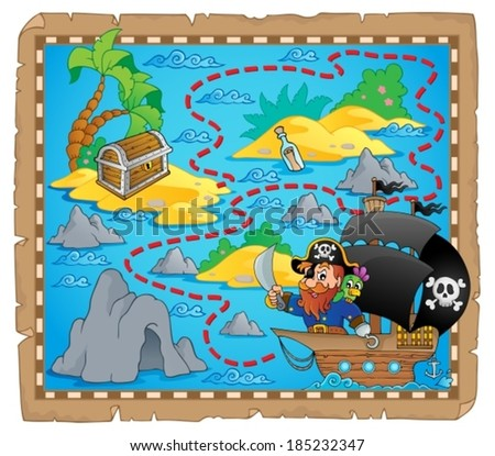 Pirate map theme image 3 - eps10 vector illustration. - stock vector