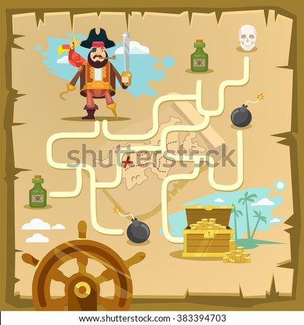 Pirate maze. Labyrinth game. Vector cartoon illustration - stock vector