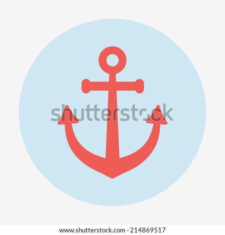 Pirate or sea icon, anchor. Flat design style modern vector illustration. Isolated on stylish color background long shadow icon.  Elements in flat design. - stock vector