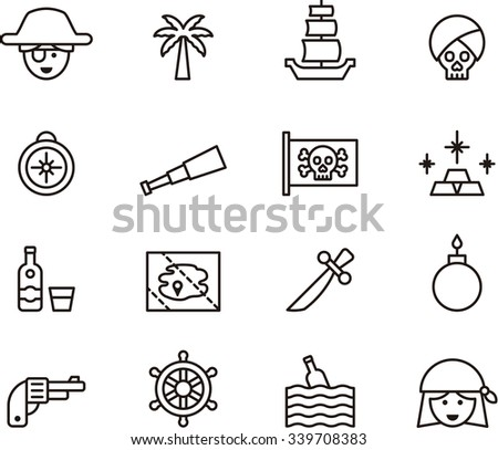 PIRATE outline icons - stock vector
