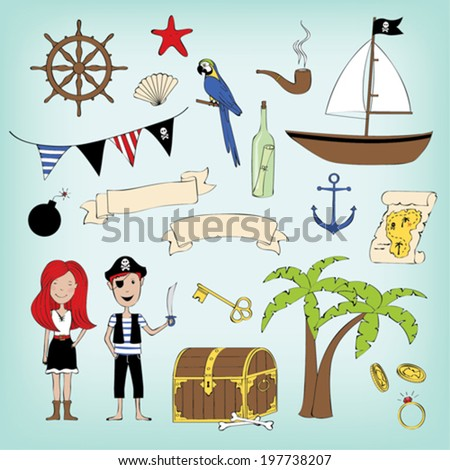 Pirate set - stock vector