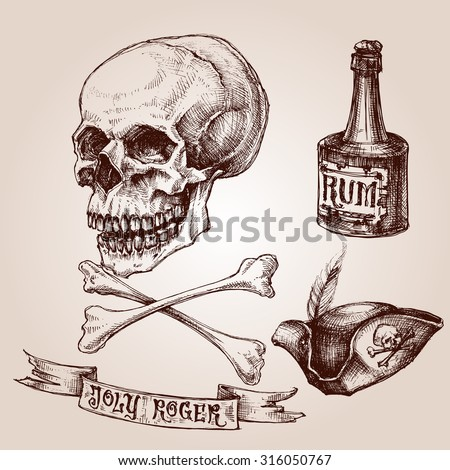 Pirate set, skull and crossbones, pirate hat and a bottle of rum - stock vector