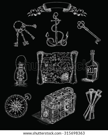 Pirate set with engraved objects on black: anchor, pirate map, compass, keys and others.  Hand drawn illustration. - stock vector