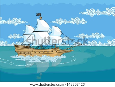 Pirate ship - stock vector