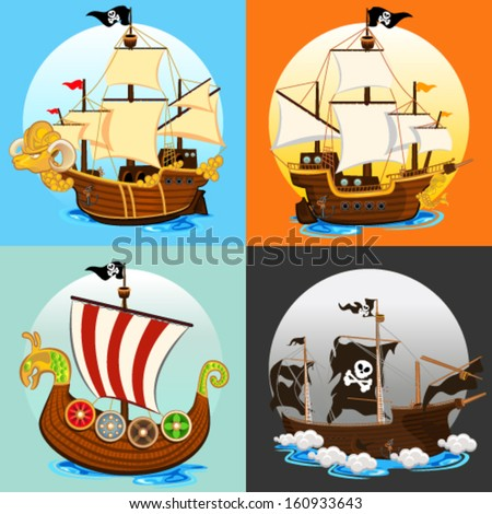 Pirate Ship Collection Set - stock vector