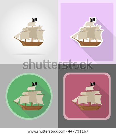 pirate ship flat icons vector illustration isolated on background - stock vector
