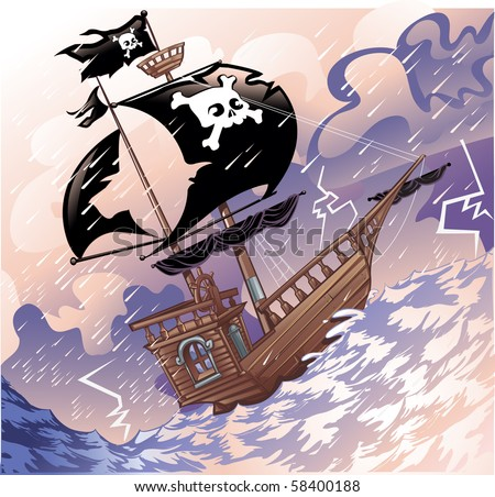 Pirate ship in thunder storm - stock vector