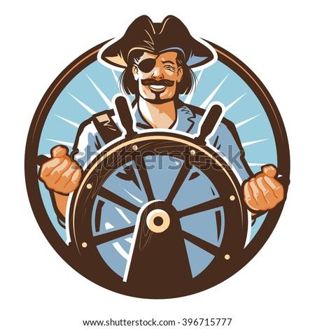 Pirate ship vector logo. Jolly Roger, journey or corsair icon - stock vector