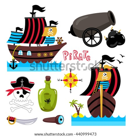 Pirate ship with sails. Skull with bones in pirate hat. Pirate ship sideways. Bottle of rum, saber and spyglass. Elements for celebration or birthday. Cartoon illustration. Cute pirate object set. - stock vector
