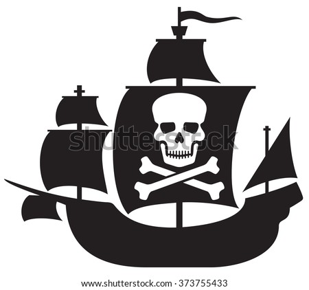 pirate ship with skull with crossed bones on the sail  - stock vector
