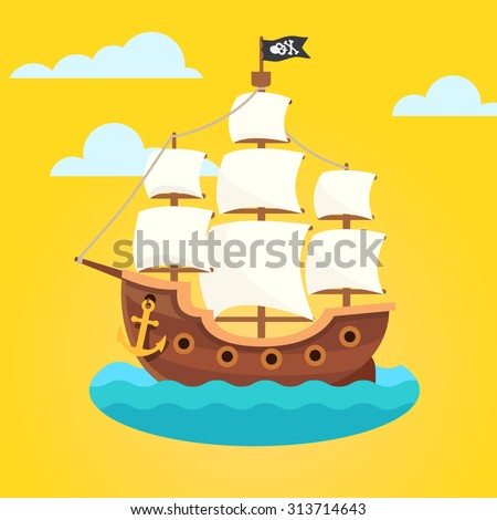Pirate ship with white sails and black scull and crossed bones flag. Flat style vector icon. - stock vector