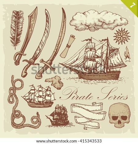 Pirate sketches. Layered vector set. - stock vector
