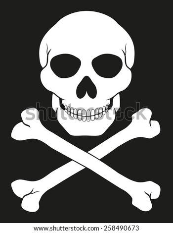 pirate skull and crossbones vector illustration isolated on white background - stock vector