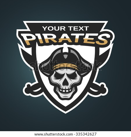 Pirate Skull and crossed sabers sea pirate theme badge, logo, emblem on a dark background. - stock vector