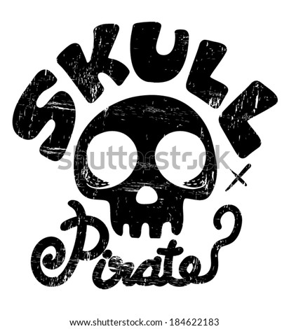 Pirate Skull Captain with Hat and Cross Bones Clipart Illustration / t-shirt graphics - stock vector