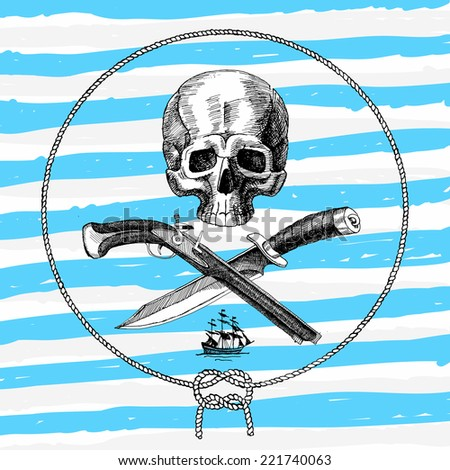 Pirate Skull emblem design, vector illustration, hand drawn - stock vector