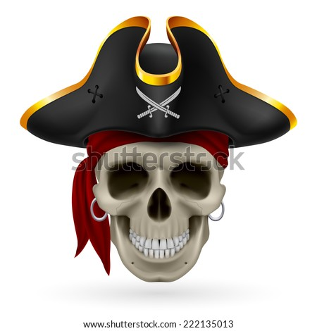 Pirate skull in red bandana and cocked hat - stock vector