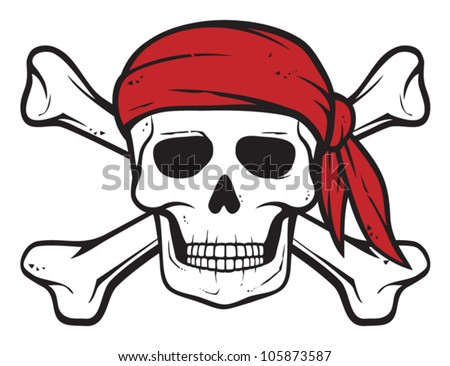 pirate skull, red bandana and bones (pirates symbol, skull and cross bones, skull with crossed bones) - stock vector