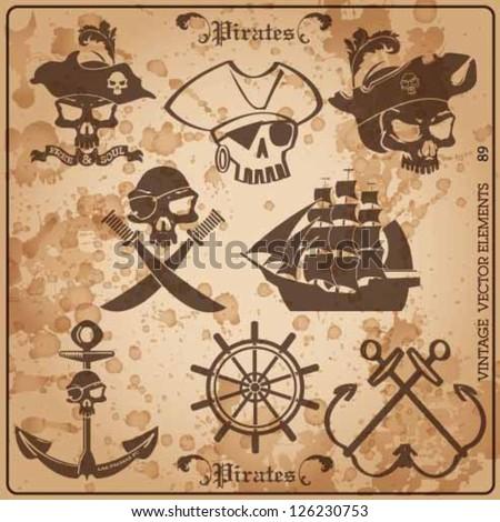 pirate skull vintage vector set. - stock vector