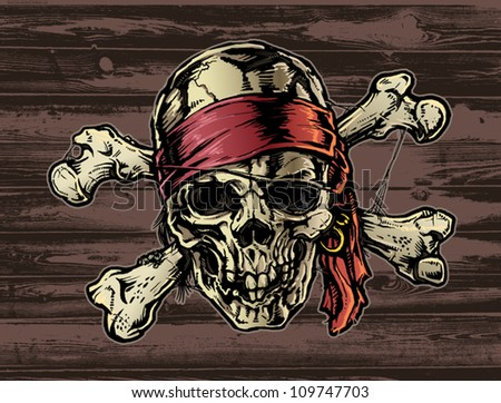 Pirate skull with Bandana - stock vector