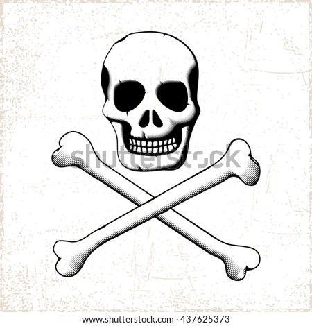 Pirate Style Smiling Scull with Two Crossed Bones on Grunge Background - Black Elements on White Background - Icon Silhouette Stencil Woodcut Style - stock vector
