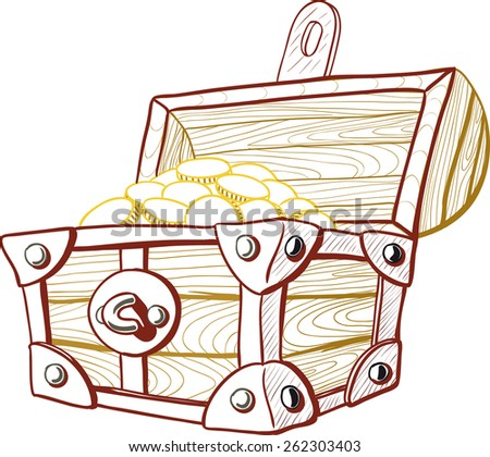 Pirate treasure chest with the lid open and full of money - stock vector