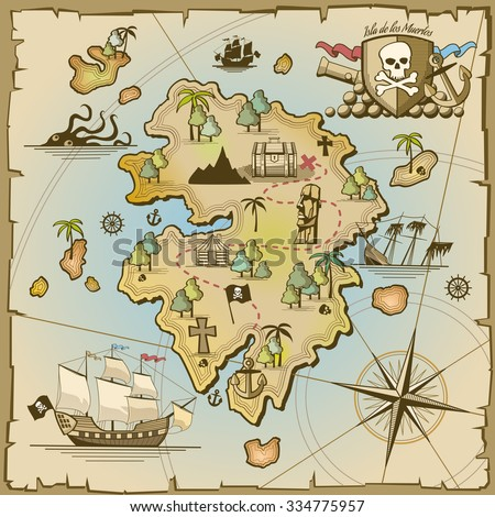 Pirate treasure island vector map. Sea ship, adventure ocean, skull and paper, navigation art and cannon illustration - stock vector