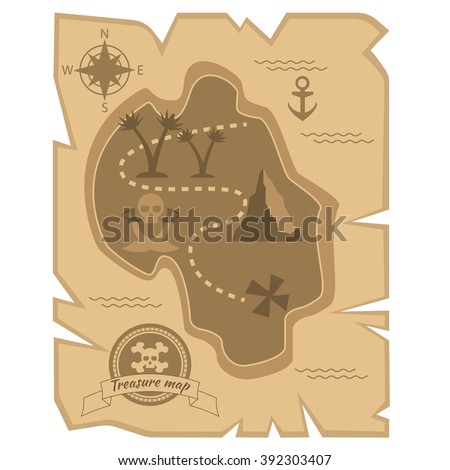 Pirate Treasure Map in flat style - stock vector
