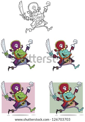Pirate Zombie Cartoon Mascot Characters-Vector Collection - stock vector