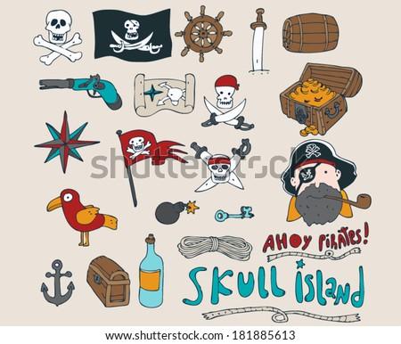 pirates accessory set of icon vector illustration - stock vector