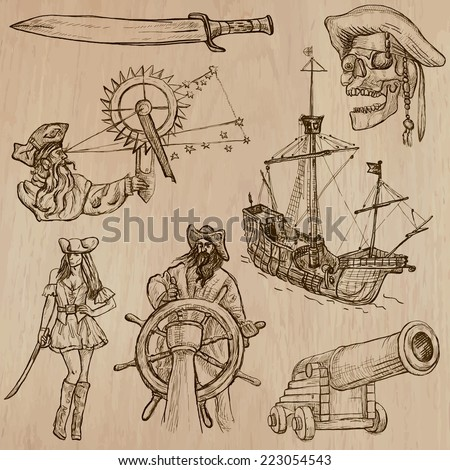 Pirates, Buccaneers and Sailors - Collection (no.1) of an hand drawn illustrations. Description: Each drawing comprise of three layer of outlines, the colored background is isolated. - stock vector