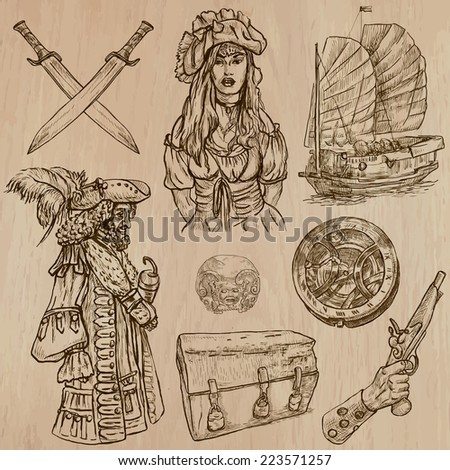 Pirates, Buccaneers and Sailors - Collection (no.4) of an hand drawn illustrations. Description: Each drawing comprise of three layer of outlines, the colored background is isolated. - stock vector