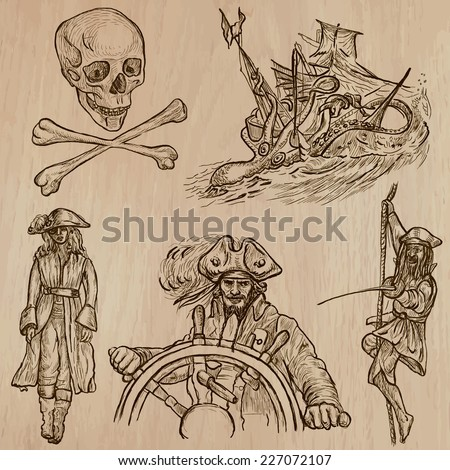 Pirates, Buccaneers and Sailors - Collection (no.10) of an hand drawn illustrations. Description: Each drawing comprise of three layer of outlines, the colored background is isolated. - stock vector