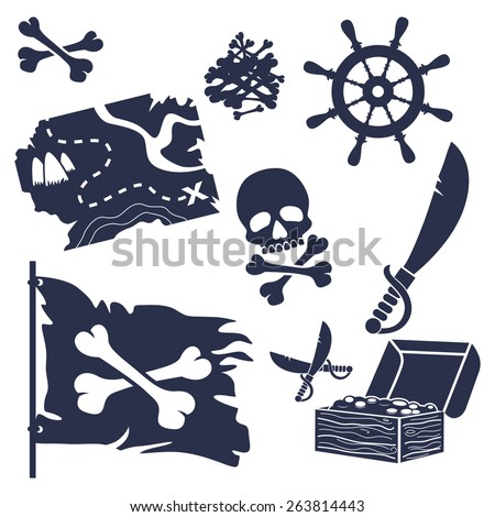 Pirates icons set-Cartoon Vector Illustration - stock vector