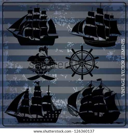 pirates ship vector vintage set.rudder skeleton pirates vector set. - stock vector