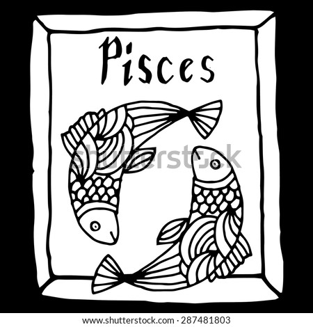 Pisces horoscope sign vectorized hand draw - stock vector