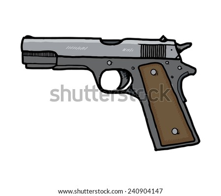 Pistol, hand drawn, isolated on white background. EPS8. - stock vector