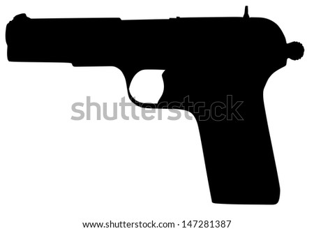pistol revolver black silhouette isolated on white background vector, illustration,for battle, war situation,conflict, army gun, vintage, projectile, modern pistol, polymer, velocity, service, shot  - stock vector