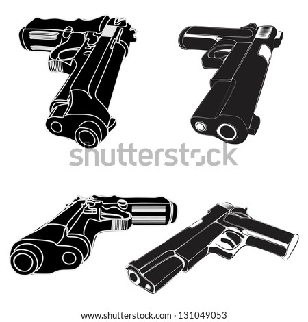 pistols group - stock vector