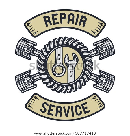 Piston, gear and wrenches. Repair service emblem - stock vector