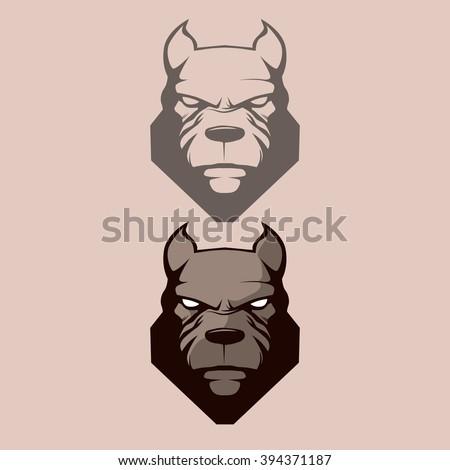 pitbull for logo, symbol, simple illustration, sport team emblem, mascot, design element and label, security idea, vector - stock vector
