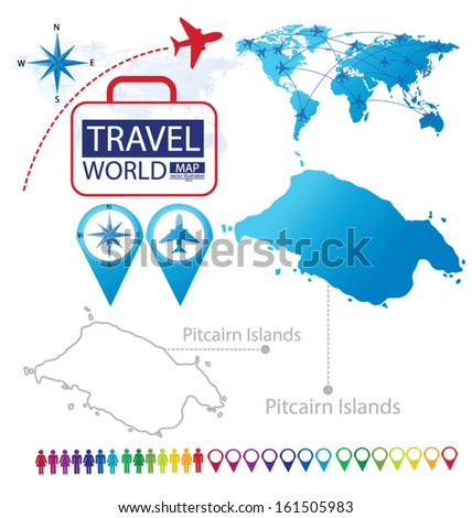 Pitcairn Islands. World Map. Travel vector Illustration. - stock vector