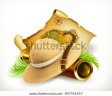 Pith helmet. Treasure map. Adventure vector icon - stock vector