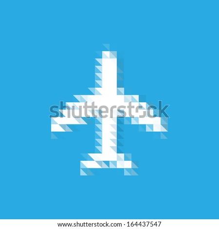 pixel airplane icon - stock vector