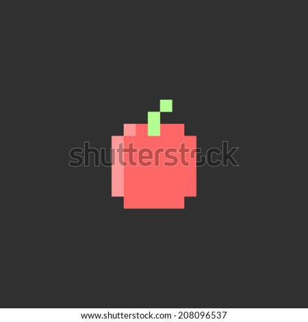 Pixel apple. Fruit icon, for game, app, web, flyer, brochure, card, poster. Simple game symbol. Easy to edit. Vector illustration - EPS10. - stock vector
