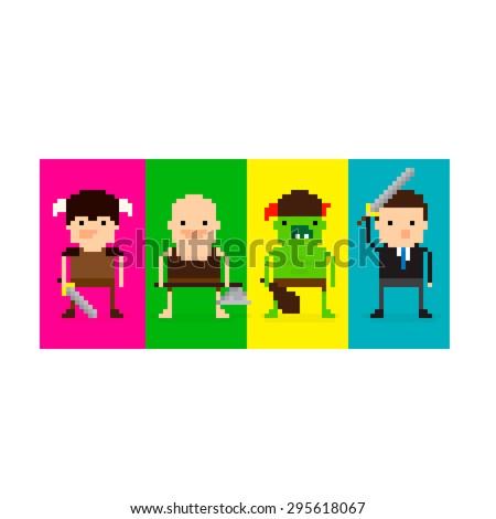 Pixel art 8-bit game characters in battle stances - stock vector